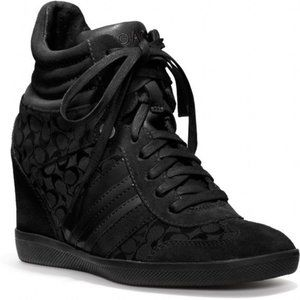 Coach Alara Black Signature Suede Wedge Sneaker 8